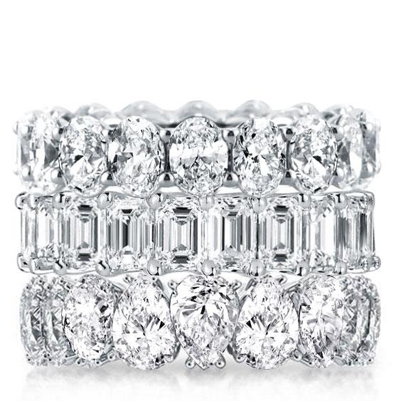 Triple Row Oval & Emerald & Pear Stackable Band Set, White