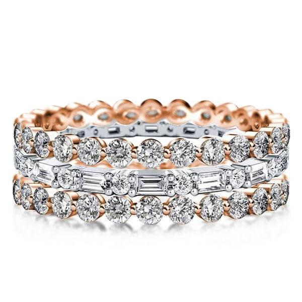 Eternity Triple Row Two Tone Rose Gold Stackable Band Set, White