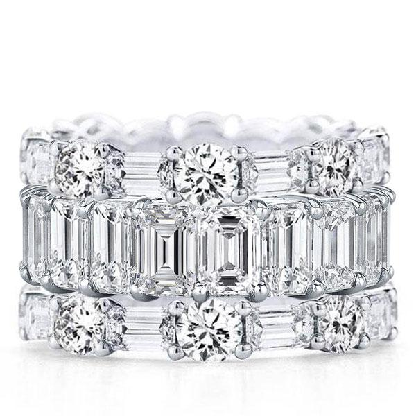 Eternity Triple Row Round & Emerald Cut Stackable Band Set, White