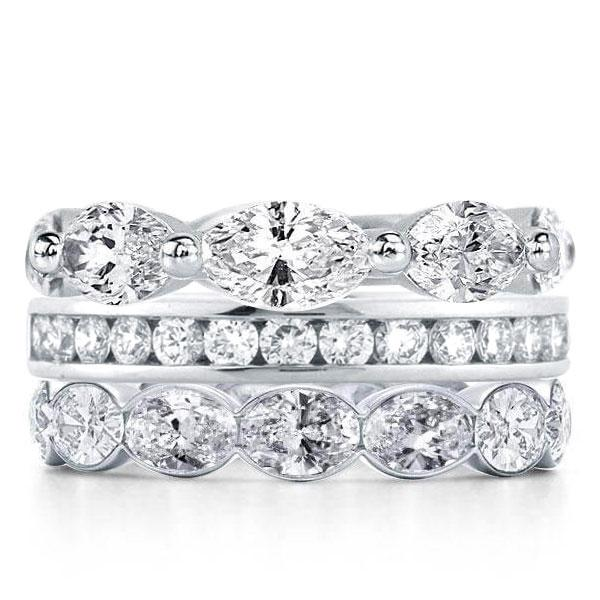 Triple Row Marquise & Round & Oval Stackable Band Set, White