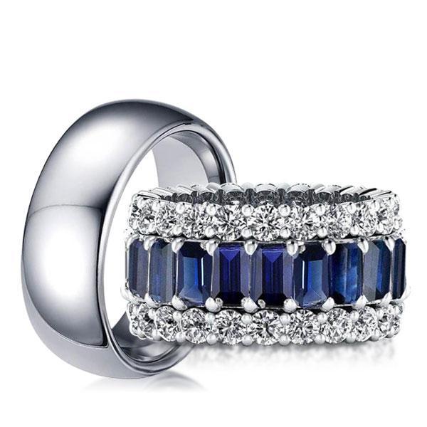 Eternity Triple Row Blue Emerald Cut Couple Rings, White
