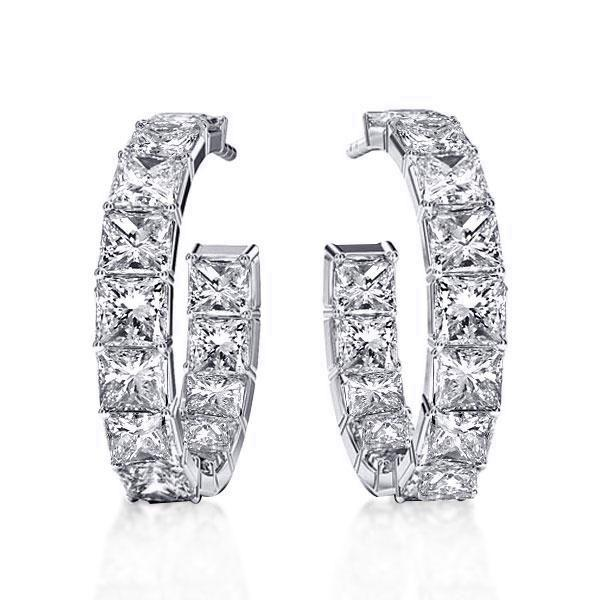 Classic Princess Cut Hoop Silver Earrings, White