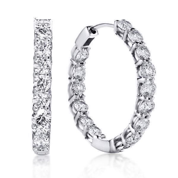 Classic Round Cut Hoop Earrings Women Silver, White