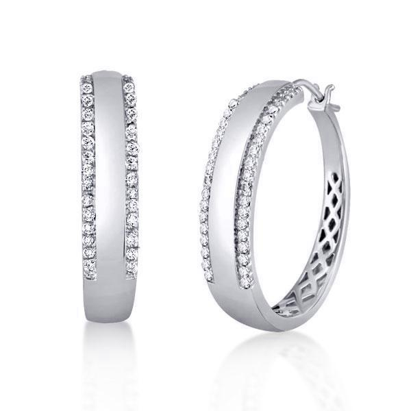 Round Cut Silver Hoop Earrings For Women, White