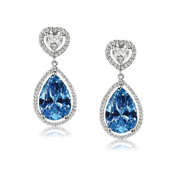Halo Heart & Pear Cut Blue Drop Earrings