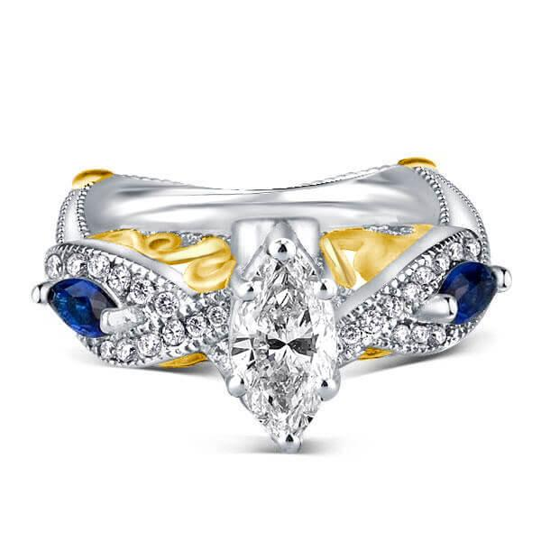 Two Tone Twist White & Blue Engagement Ring