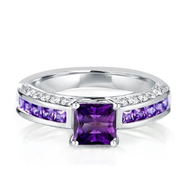 Italo Art Deco Created Amythyst Sapphire Engagement Ring, White