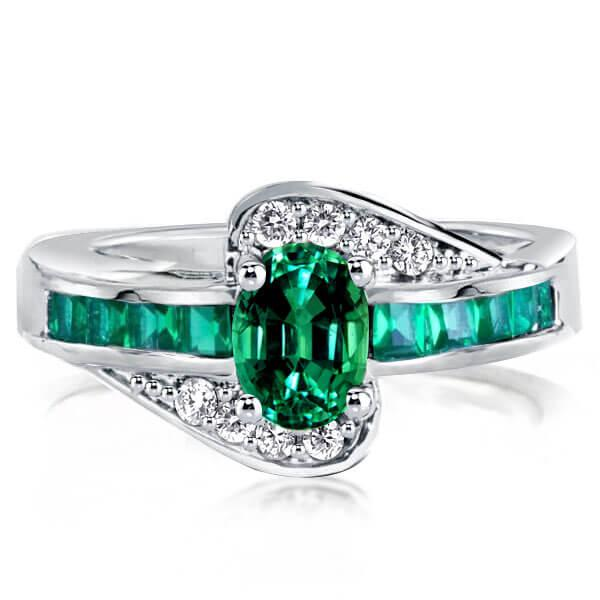 Italo Bypass Created Emerald Engagement Ring, White