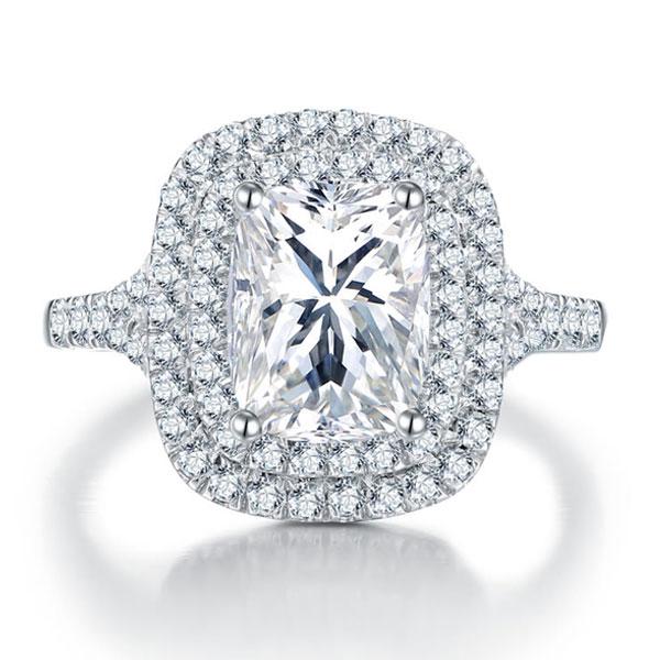 Italo Halo Created White Sapphire Engagement Ring