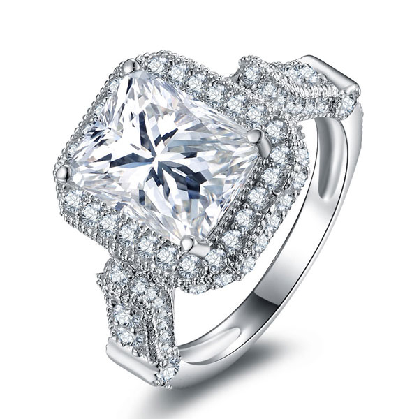 Halo Created White Sapphire Engagement Ring