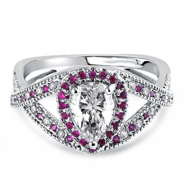 Italo Twist Milgrain Created White Sapphire Engagement Ring