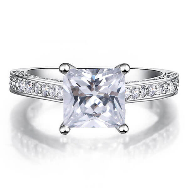 Classic Princess Cut Engagement Ring (2.32 CT. TW.), White