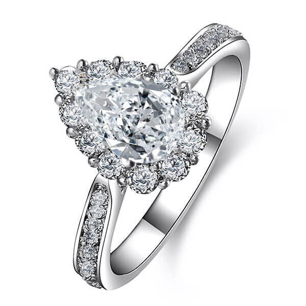 Italo Crown Halo Pear Created White Sapphire Engagement Ring