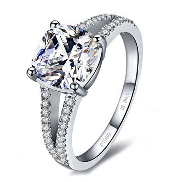 Italo Cushion Spilt Shank Created White Sapphire Engagement Ring