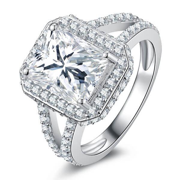 Italo Halo Split Shank Created White Sapphire Engagement Ring