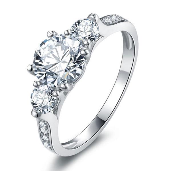 Italo Classic Three Stone Created White Sapphire Engagement Ring