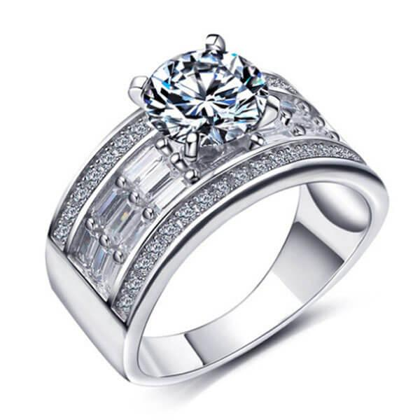 Italo Tiple Row Baguette Created White Sapphire Engagement Ring