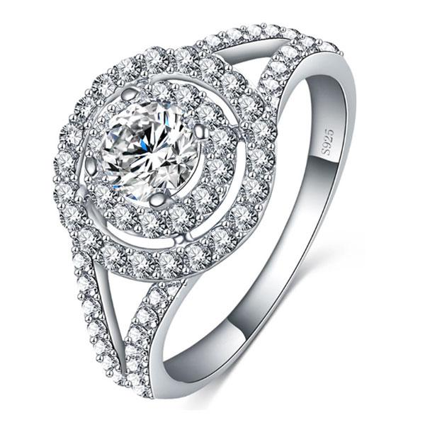 Italo Spilt Shank Halo Created White Sapphire Engagement Ring