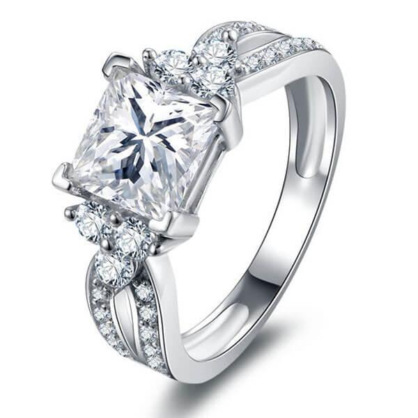 Split Shank Six Stone Engagement Ring, White