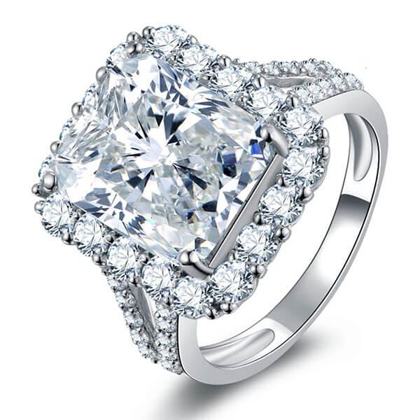 Italo Halo Split Shank Created White Sapphire Engagement Ring