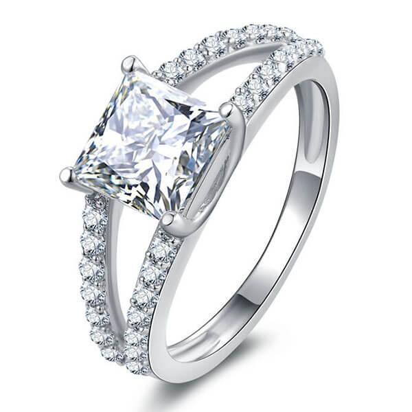 Italo Split Shank Created White Sapphire Engagement Ring