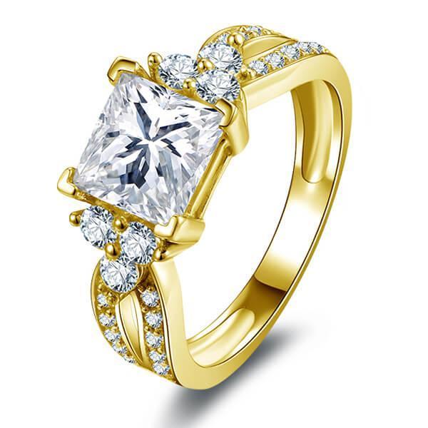 Split Shank Six Stone Yellow Gold Engagement Ring, White