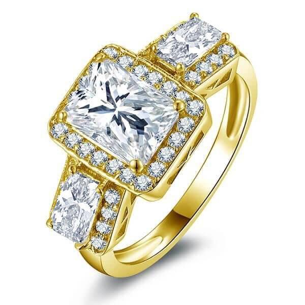Art Deco Halo Three Stone Yellow Gold Engagement Ring, White