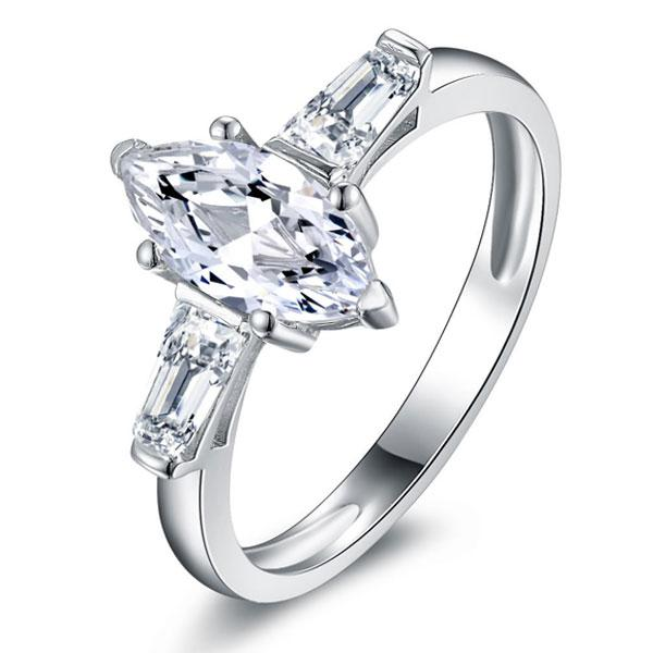 Three Stone Solitaire Marquise Engagement Ring, White