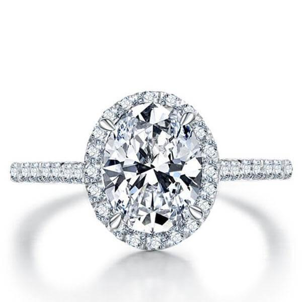 Italo Halo Oval Created White Sapphire Engagement Ring