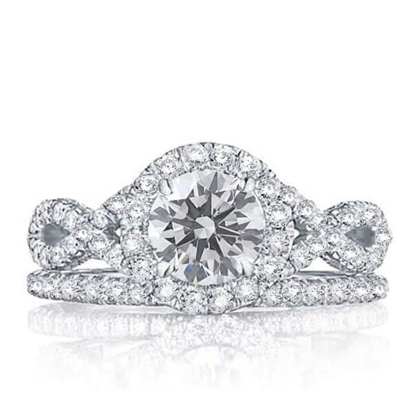 Italo Twist Halo Created White Sapphire Bridal Set