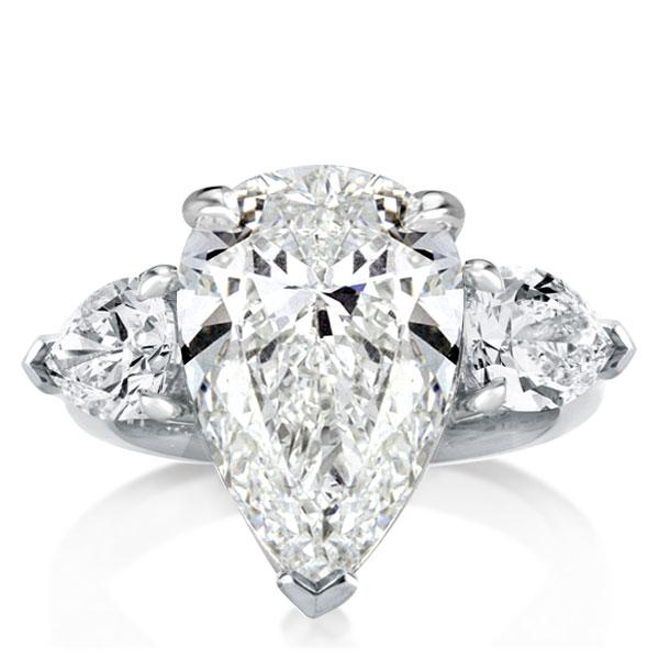 Italo Three Stone Pear Created White Sapphire Engagement Ring