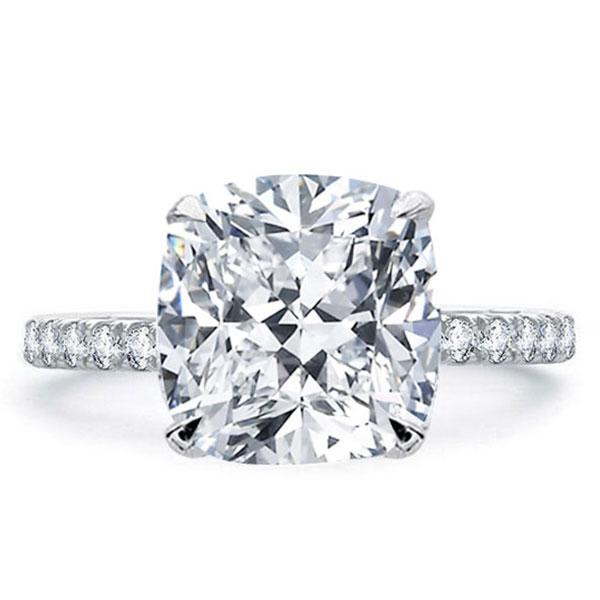 Italo Classic Cushion Created White Sapphire Engagement Ring