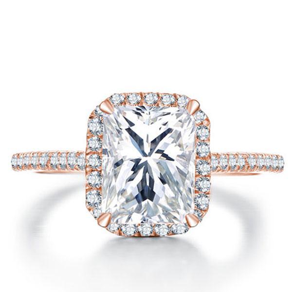 Italo Rose Gold Halo Created White Sapphire Engagement Ring
