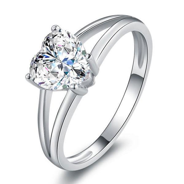 Italo Heart Split Shank Created White Sapphire Engagement Ring