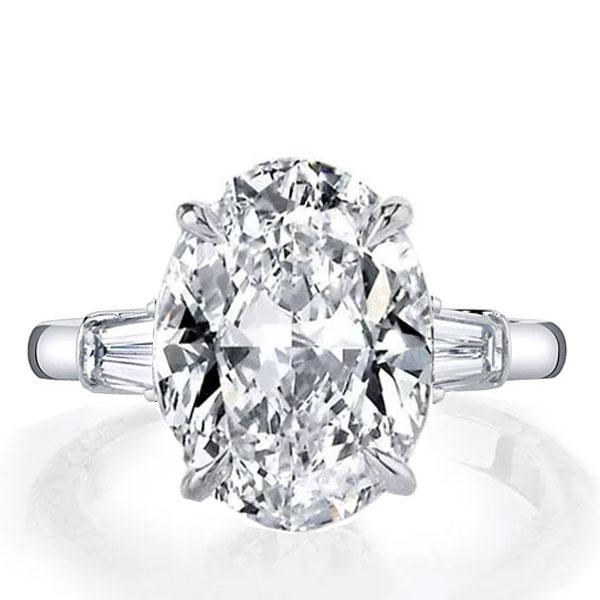 Italo Oval Three Stone Created White Sapphire Engagement Ring