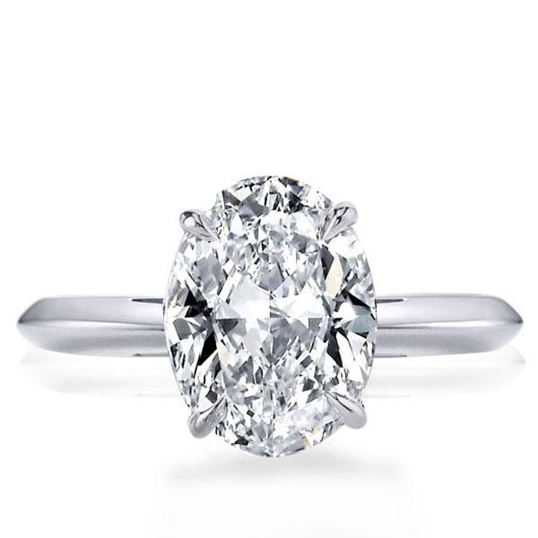 Italo Oval Solitaire Created White Sapphire Engagement Ring