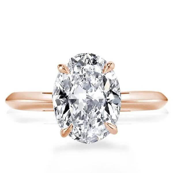 Rose Gold Oval Solitaire Engagement Ring, White