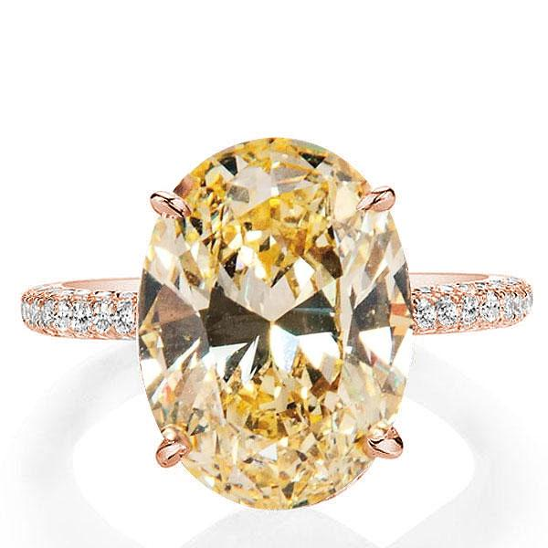 Italo Rose Gold Oval Created Champagne Sapphire Engagement Ring, White