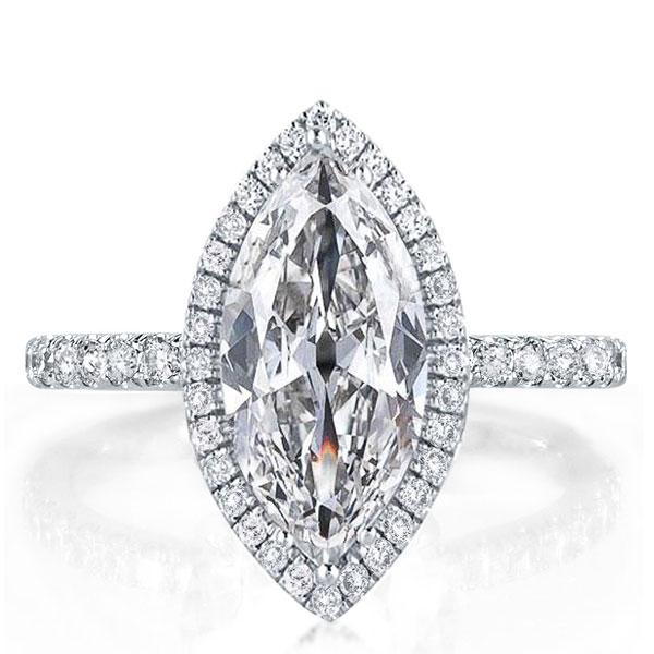 Classic Halo Marquise Engagement Ring, White