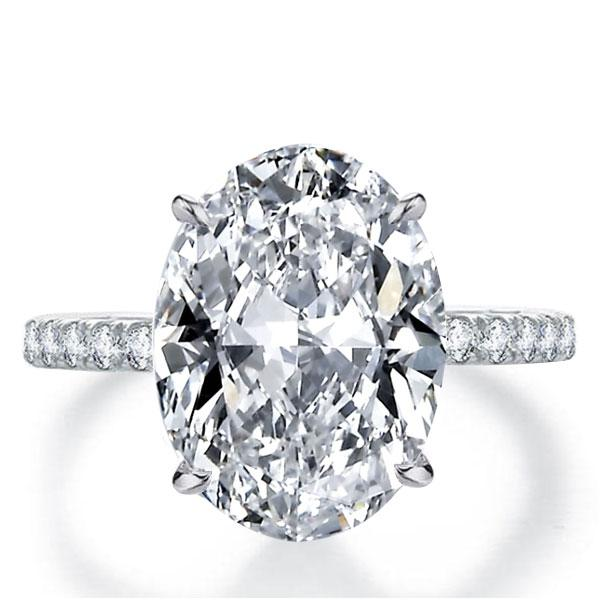 Italo Classic Oval Created White Sapphire Engagement Ring