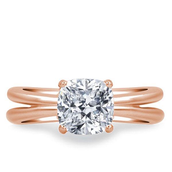 Rose Gold Split Shank Engagement Ring, White