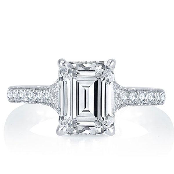Italo Micro Pave Emerald Created White Sapphire Engagement Ring