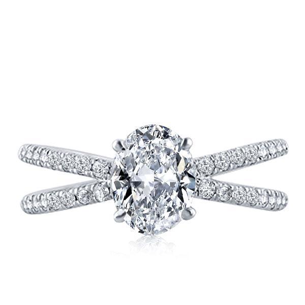 Italo Split Shank Oval Created White Sapphire Engagement Ring