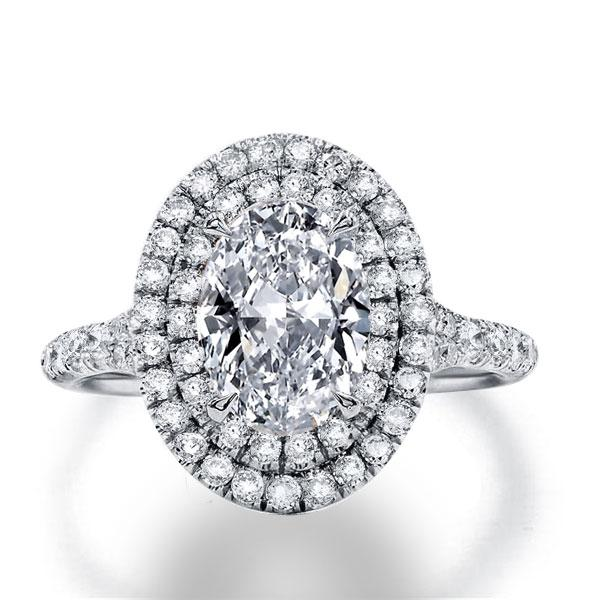 Italo Double Halo Oval Created White Sapphire Engagement Ring