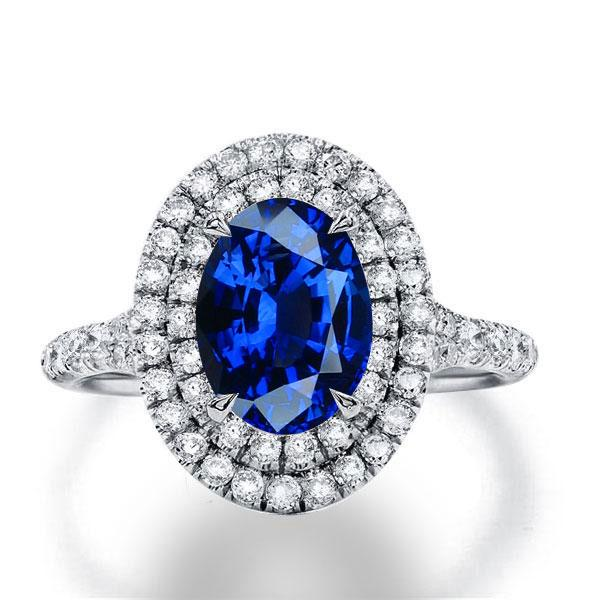 Italo Double Halo Oval Created Sapphire Engagement Ring, White