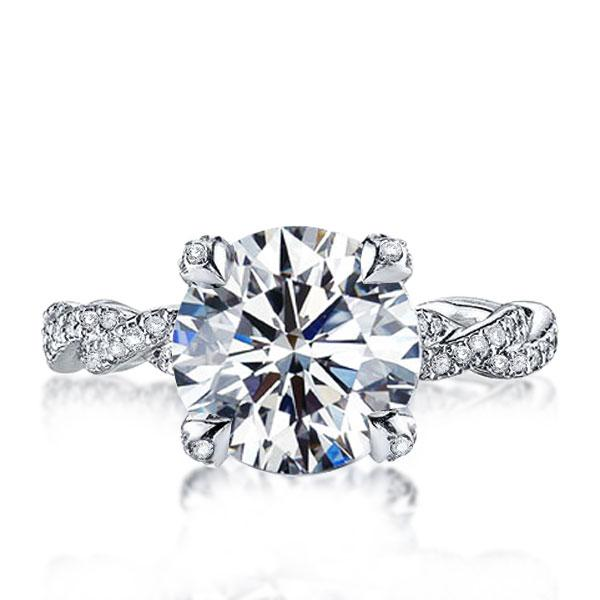 Italo Infinity Shank Created White Sapphire Engagement Ring