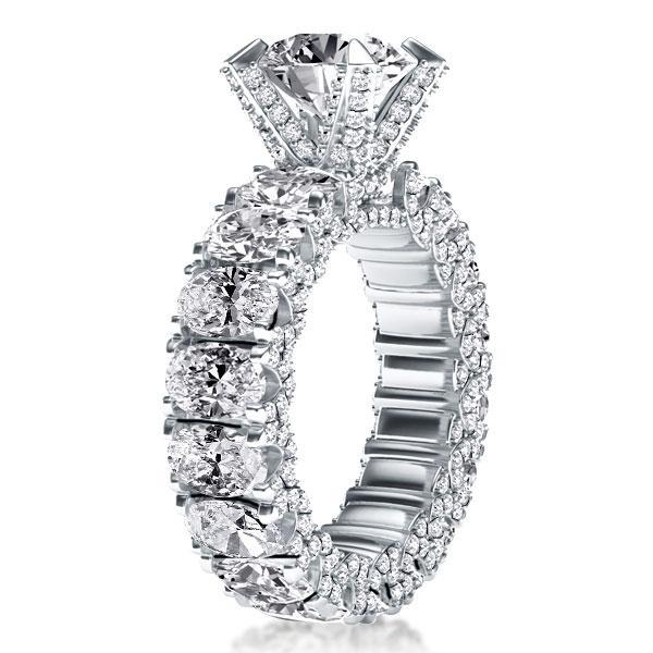 Eternity Oval Shank Engagement Ring, White