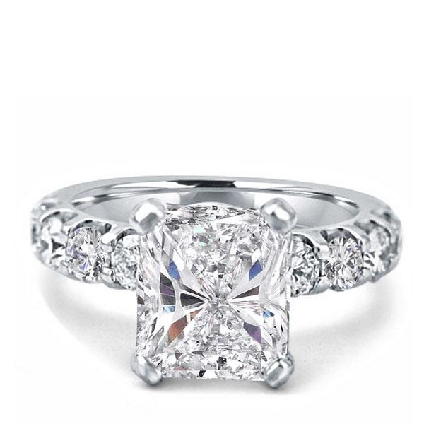 Radiant Half Eternity Engagement Ring, White
