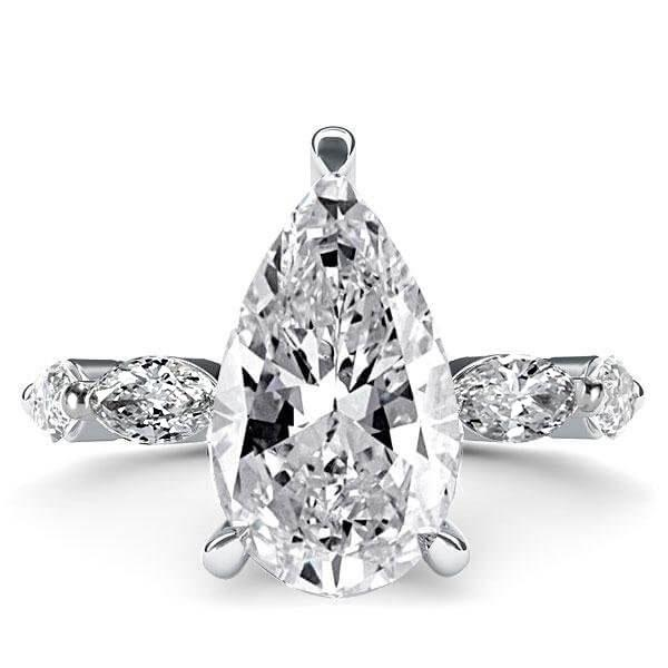 Italo Pear Eternity Created White Sapphire Engagement Ring