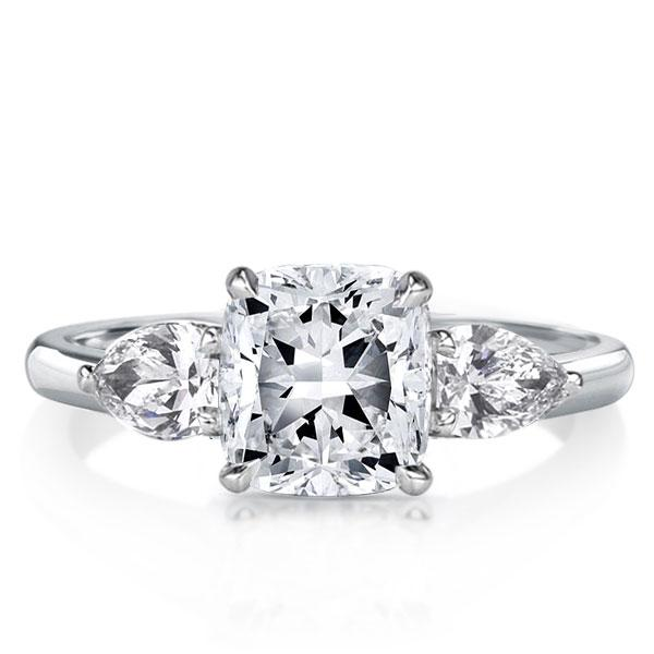 Italo Three Stone Cushion Created White Sapphire Engagement Ring